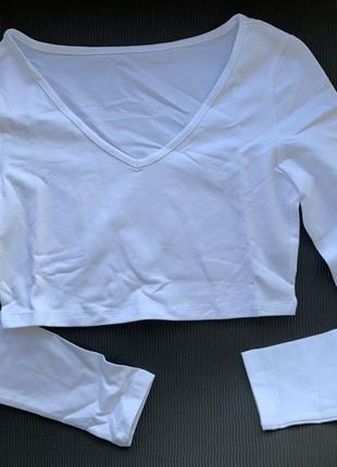 Трендова кофта-топ з довгими рукавами, біла базова кофта укорочена, белый кроп топ.