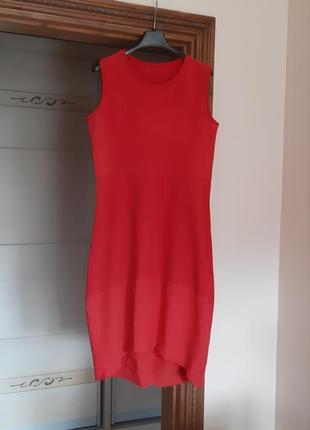 Красивое красное хлопковое платье миди