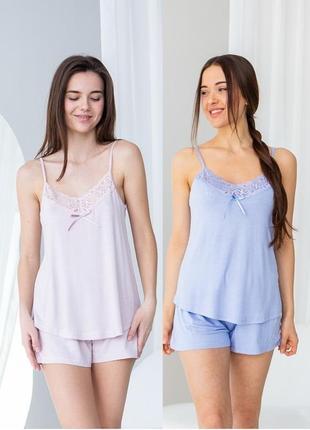 Женская вискозная пижама с майкой и шортиками nicoletta турция, піжама з мереживом