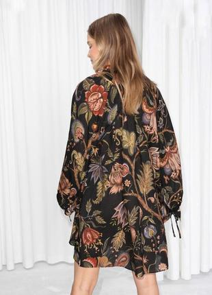 Платье туника в цветочный принт в цветы хлопок лен льняное