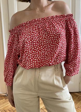 Червона блуза іспанка з опущеними плечима на резинці