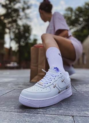 Женские кожаные кроссовки air force 1 lx white   nike #найк