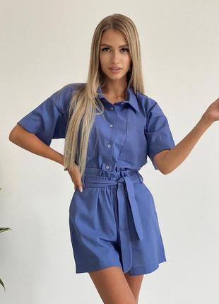Прогулочный женский летний легкий льняной костюм рубашка и шорты