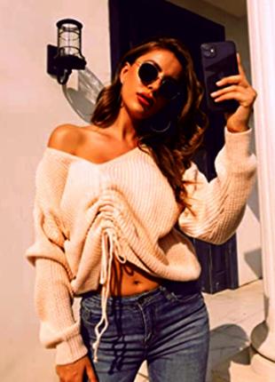 Укороченный свитер с затяжками спереди / большая распродажа!