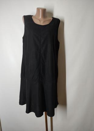 Черное льняное платье свободного кроя лен вискоза next