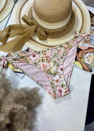 Розовые плавки бикини с цветами на завязках, низ от купальника h&m
