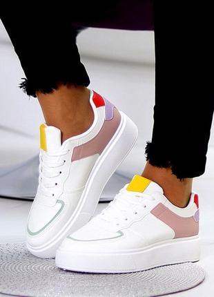 Повседневные миксовые белые женские молодежные кроссовки