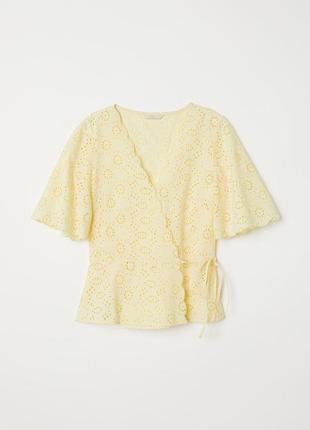 Желтая блузка из прошвы h&m