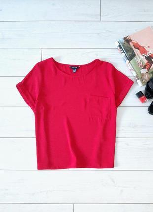 Мега стильная блуза с карманом ,в красном_👠💄