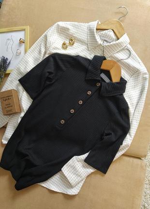 Трендовая черная футболка с воротничком mint velvet