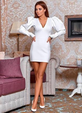 Белое короткое облегающее платье с пышным рукавом, мини, офисное платье