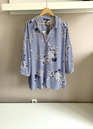 Натуральная голубая блуза
