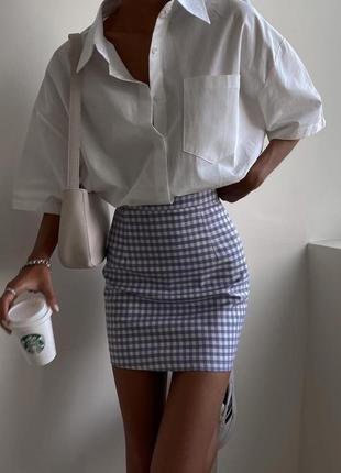 Серая юбка в клетку шахматный принт сіра спідниця в клітинку юбка zara