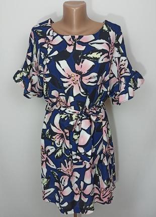 Платье мини новое в принт на поясе atmosphere uk 10/38/s