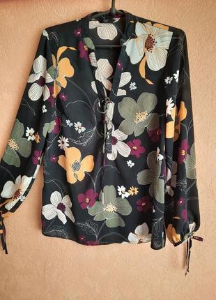 1+1=3 легкая блуза с цветочным принтом