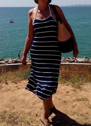 Mango трикотажное платье-майка миди, принт полоска