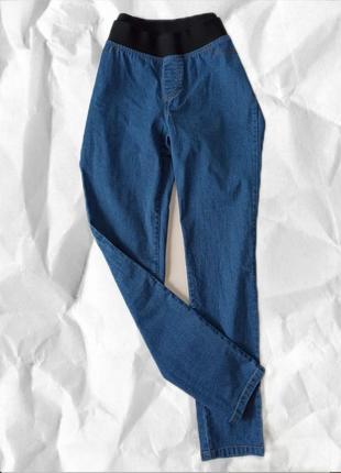 Удобные джинсы на резинке голубые черные котон cotton denim джинси штани зручні  m l xl