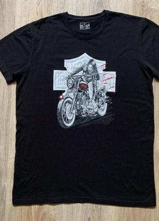 Мужская хлопковая футболка с принтом мотоцикла harley davidson