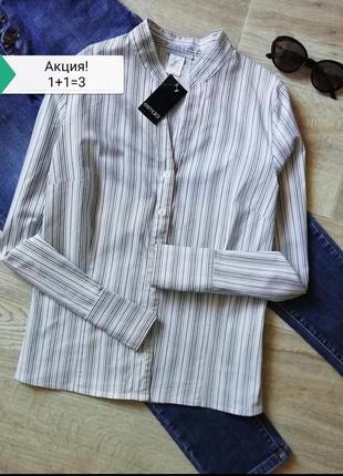 Базовая белая рубашка в черную полоску, сорочка, блузка в полоску, офисная рубашка в деловом стиле, базова сорочка