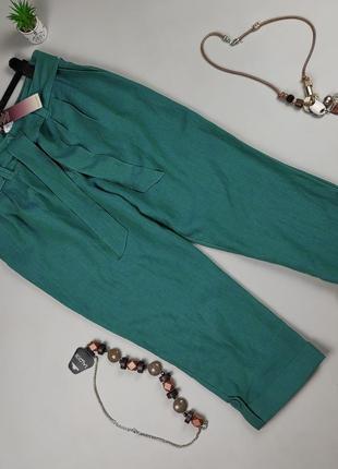 Штаны брюки новые льняные зеленые крутые лён uk 14/42/l