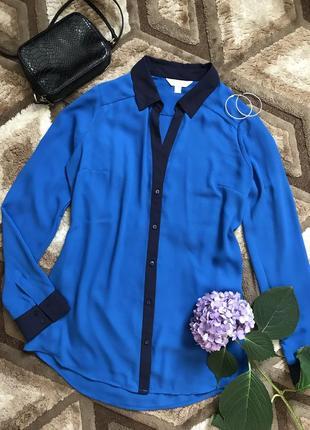 Синяя рубашка шифоновая рубашка с отделкой блуза на пуговицах базовая блузка