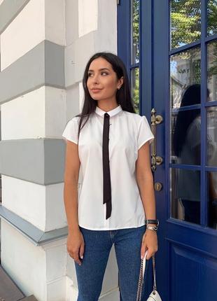 Женская блуза с галстуком, короткий рукав