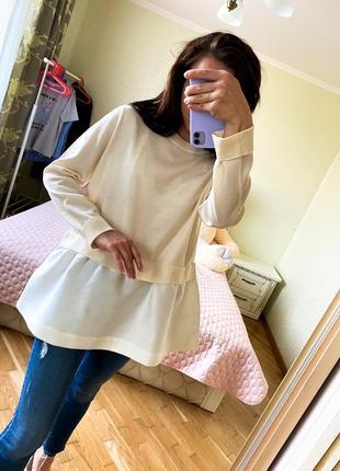 Бежевый свитер кардиган кофта свитшот блуза лонгслив бежева крута кофта з імітацією
