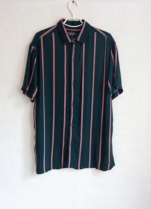✨класнюча, натуральна , довга рубашка в смужку ,неймовірного зеленого кольору oversize✨