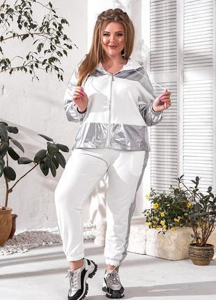 31950 костюм с контрастными вставками из плащевки      50-52 / 54-56 / 58-60
