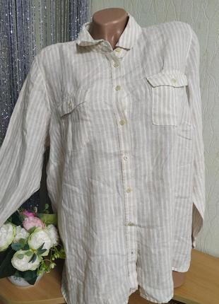 Натуральный 100%лен,рубашка m&s,полосочка,размер хл