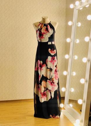 Шикарное длинное платье сарафан в цветах