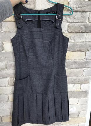Серый сарафан платье осеннее на худенькую девочку, можно в школу для подростка