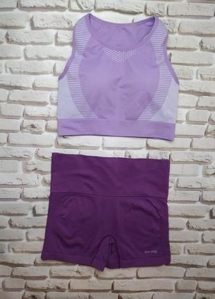 Usa pro костюм спортивный топ шорты комплект сиреневый лиловый для фитнеса йога зал