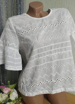 Белая ввбитая блуза,акцентный рукав,new look,12/40/m