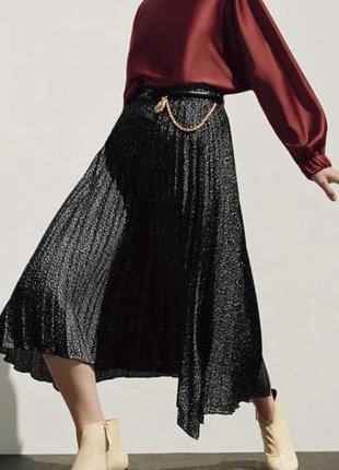 Чёрная длинная шифоновая юбка zara