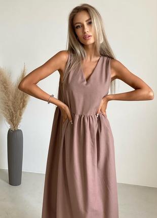 Платье в пол сарафан лен льняное