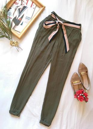 💔 легкі літні віскозні штани/брюки кольору хакі, на р. xs/xxs 💔