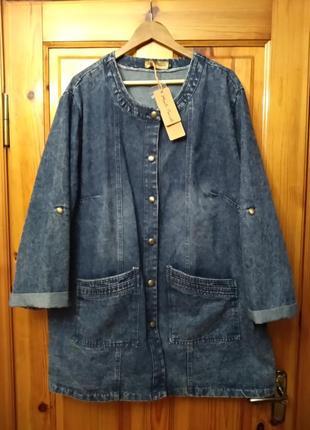 Джинсовая куртка пиджак большого размера супербатал monti poniali размер 54-56