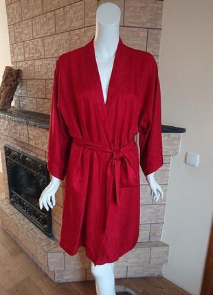 Palmers винтажный шелковый жаккардовый халат в стиле кимоно размер м-l