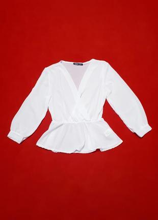 Boohoo блузка блуза белая с широкими длинными рукавами в стиле бохо р s m