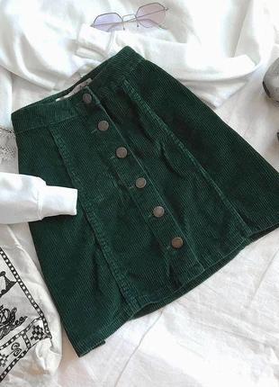 Зеленая вельветовая юбка на пуговицах zara