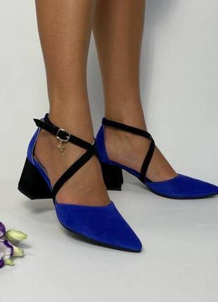 Эксклюзивные босоножки женские натуральная итальянская кожа и замша синие электрик туфли