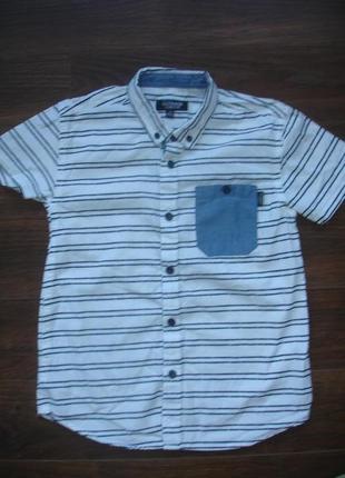 Фирменная стильная рубашка мальчику 9-10 лет хлопок в идеале