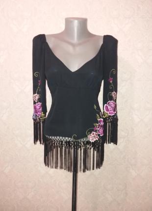 Эксклюзивная шёлковая блуза с вышивкой karen millen