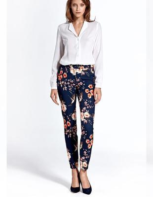 Летние коттоновые брюки штаны в цветочный принт р. 50-uk14