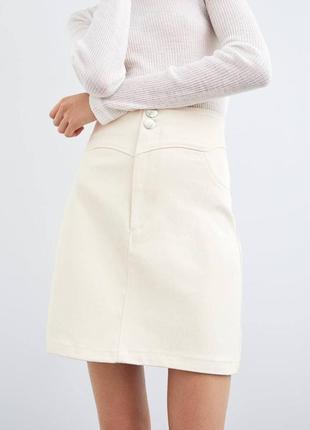 Бежевая белая юбка zara