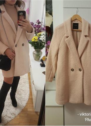 Пальто zara 100% шерсть размер l oversized