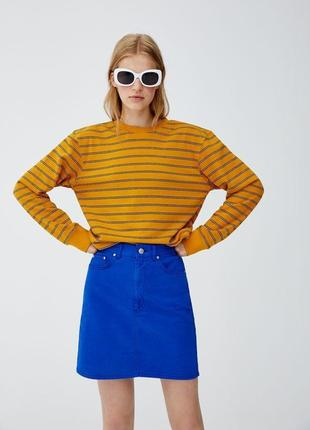 Синяя джинсовая юбка zara