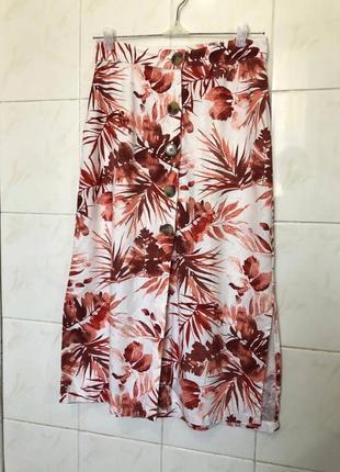 Льняная юбка на пуговицах zara