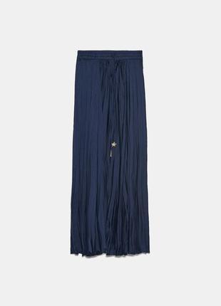 Юбка длинная синяя атласная с высокой посадкой на эластичном поясе плиссированная жатая ткань zara